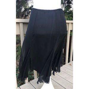 Betsey Johnson Silk Lined Skirt Asymmetrical Hem